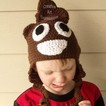 Brown Poop Emoji Hat Crocheted Child Size
