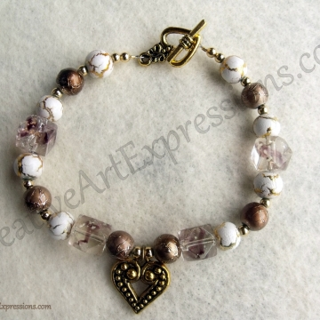 Creative Art Expressions Handmade Gold White Bronze Bracelet Jewelry
