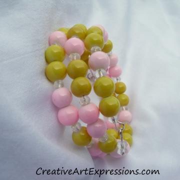 Creative Art Expressions Handmade Pink & Yellow Bracelet