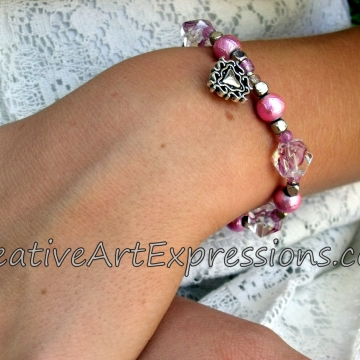 Creative Art Expressions Handmade Pink & Silver Bracelet Jewelry