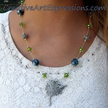 Creative Art Expressions Handmade Blue Green & Silver Tree Necklace Jewelry Desi