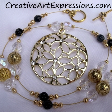 Creative Art Expressions Handmade Gold Black & Crystal Necklace Jewelry Design