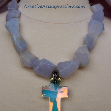 Creative Art Expressions Handmade Lace Agate & Crystal Cross Necklace Jewelry De