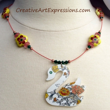 Creative Art Expressions Handmade Summer Swan Necklace