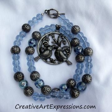 Creative Art Expressions Handmade Blue Bird Necklace