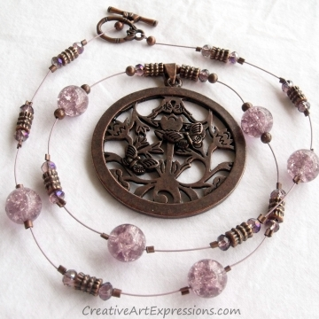Handmade Antique Bronze & Mauve Butterfly Necklace Jewe