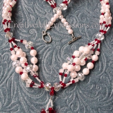 Creative Art Expressions Handmade Red & White Pearl & Crystal Necklace Jewelry