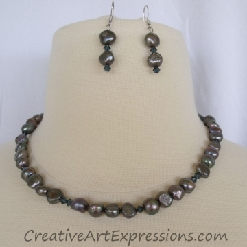 Creative Art Expressions Mystic Blue Freshwater Pearl Necklace & Earring Set