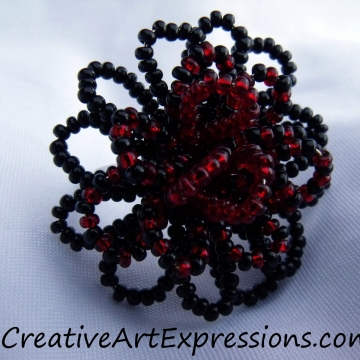 Creative Art Expressions Handmade Black & Red Seed Bead Flower Ring Jewelry Desi