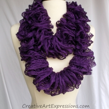 Creative Art Expressions Hand Knitted Neon Purple Ruffle Scarf