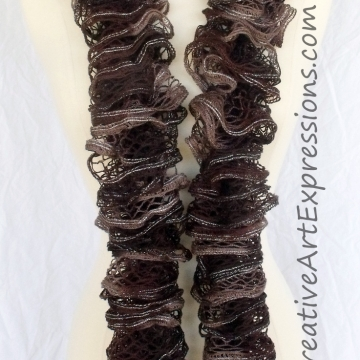Creative Art Expressions Hand Knitted Brown Ruffle Scarf
