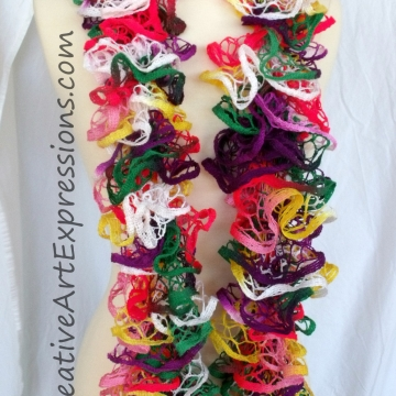 Creative Art Expressions Hand Knitted Parrot Ruffle Scarf