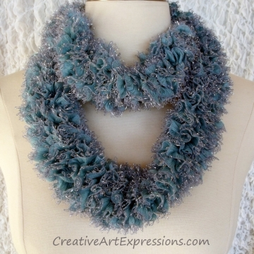 Hand Knitted Ice Blue Sassy Ribbon Scarf