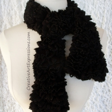 Creative Art Expressions Hand Knitted Black Ribbon Scarf