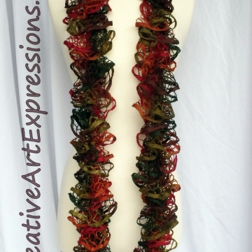 Creative Art Expressions Hand Knitted Autumn Ruffle Scarf