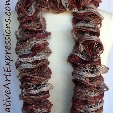 Creative Art Expressions Hand Knit Russet Ruffle Scarf