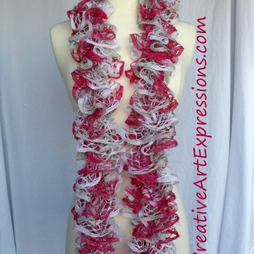 Creative Art Expressions Hand Knitted Candy Cane Ruffle Scarf