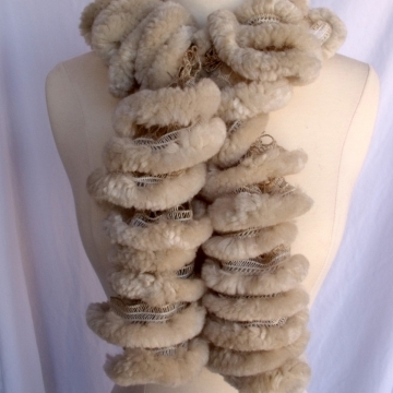 Creative Art Expressions Hand Knit Furry Beige Ruffle Scarf