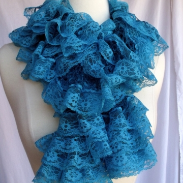 Creative Art Expressions Hand Knit Turquoise Lace Ruffle Scarf