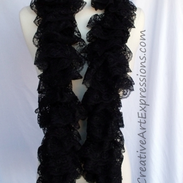 Creative Art Expressions Hand Knit Black Lace Ruffle Scarf