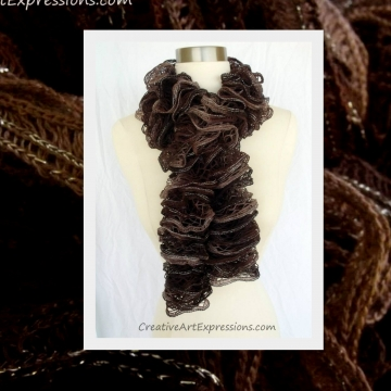 Knitted Brown Ruffle Scarf