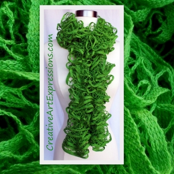 Knitted Lime Green Ruffle Scarf