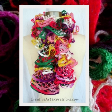 Knitted Parrot Ruffle Scarf