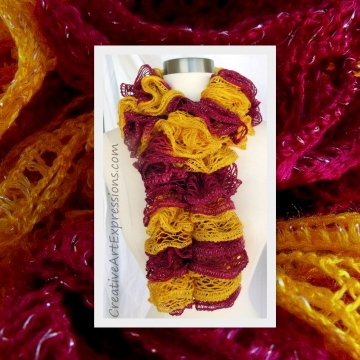 Knitted Gold & Burgundy Ruffle Scarf