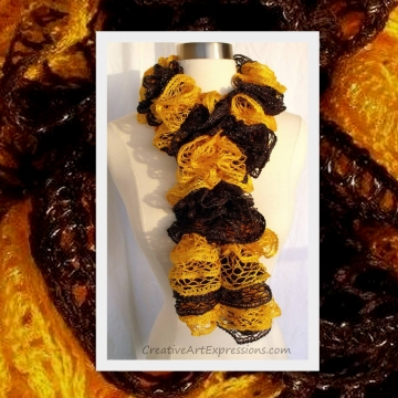 Knitted Black & Gold Ruffle Scarf