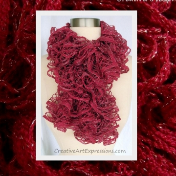 Knitted Rosewood Red Ruffle Scarf