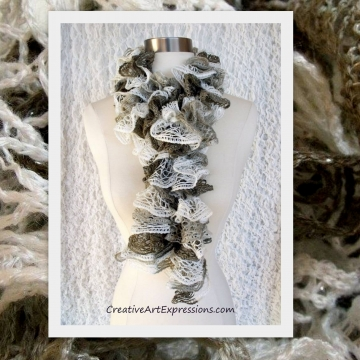 Knitted White Gray & Brown Ruffle Scarf