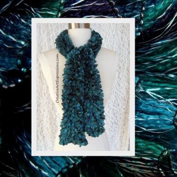 Knitted Teal & Turquoise Sassy Ribbon Scarf