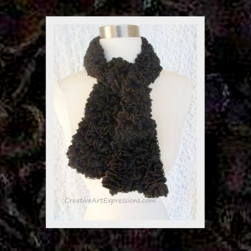 Knitted Black Ribbon Scarf