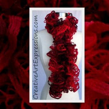 Hand Knit Shades of Red Ruffle Scarf