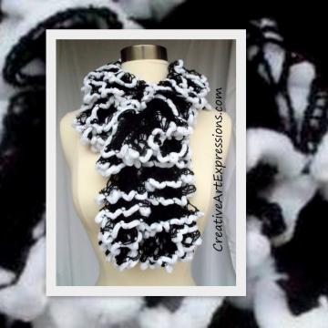 Black & White Fur Ruffle Scarf