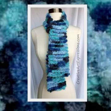 Knit Blue Skies Pom Pom Scarf
