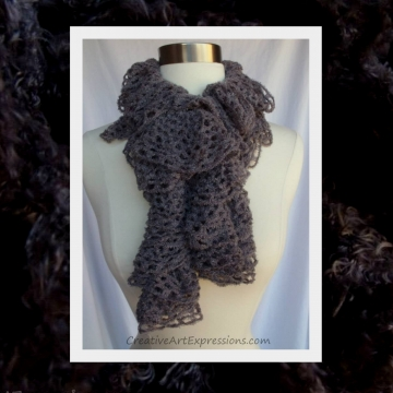 Hand Knit Gray Frill Lace Soft Ruffle Scarf