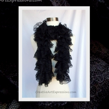 Knit Black Lace Ruffle Scarf