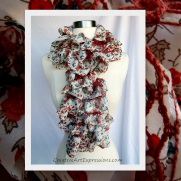 Hand Knit Orient Fabric Lined Ruffle Scarf