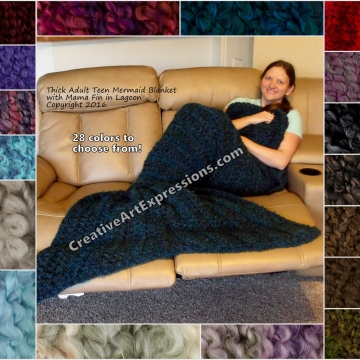 Mermaid Blanket Thick Mama Fin in Lagoon
