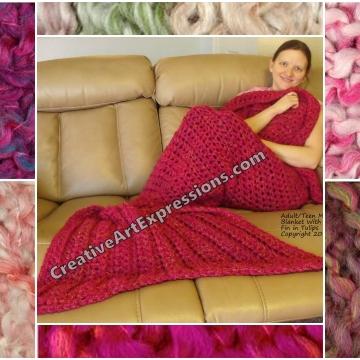 Pink Mermaid Blanket Crocheted Adult Teen
