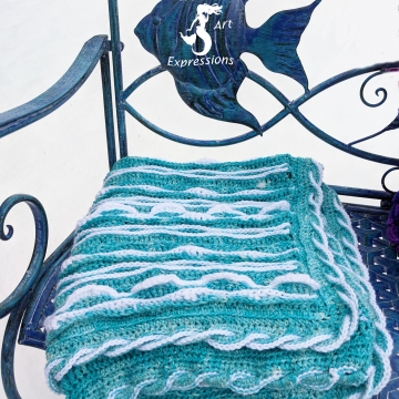Sea Breeze Baby Blanket in Aqua with White Caps