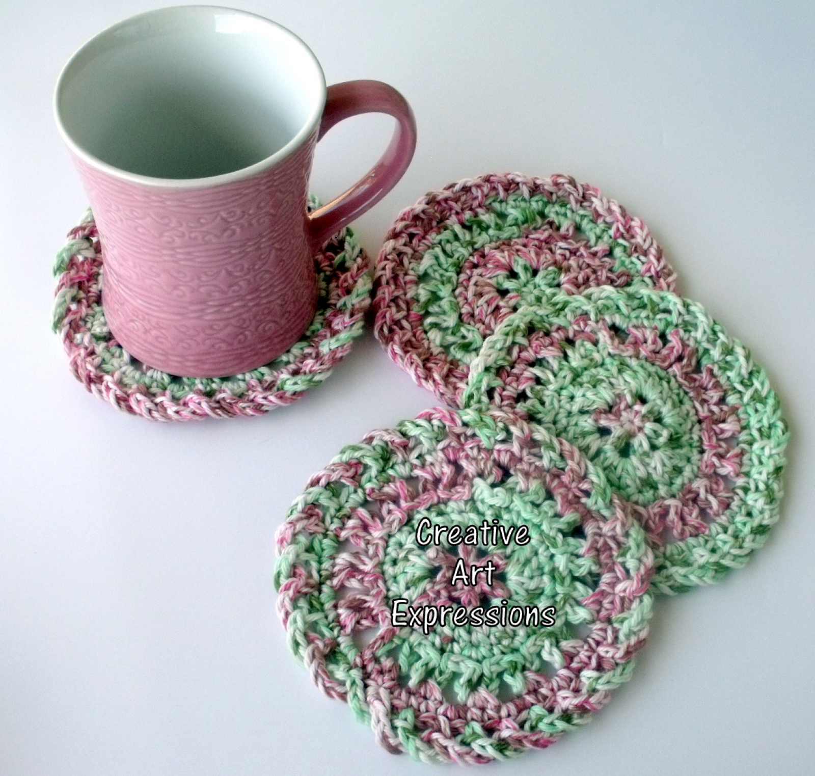 Red Green Pink Christmas Crocheted Coasters Round Large Kitchen
