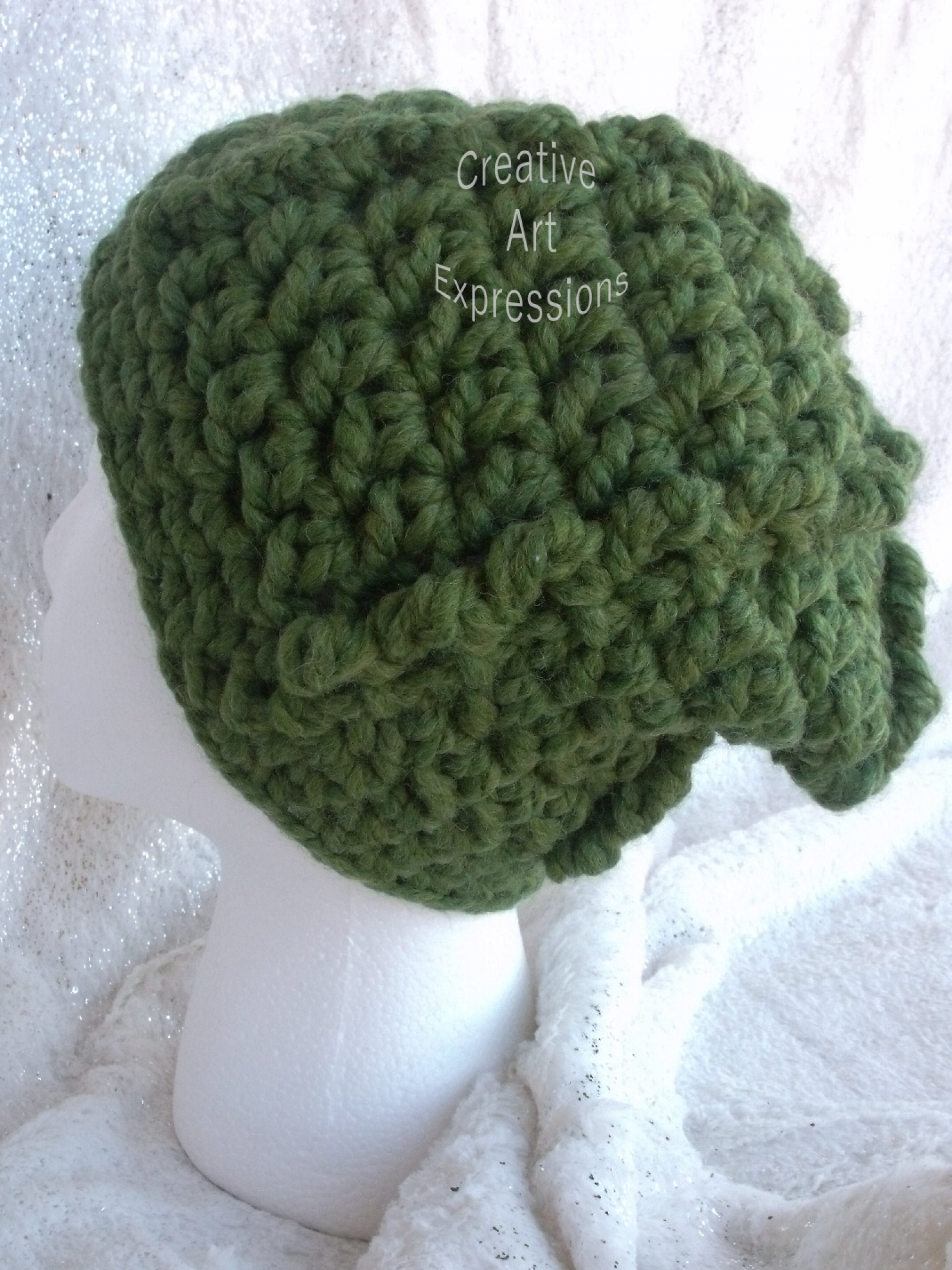 7ea44b15c41 Green Ready to ship Bulky Ribbed Slouchy Thick Hat Crocheted Women ...