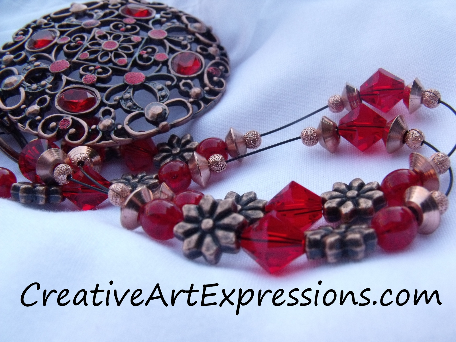 handmade red amp antique copper necklace amp earring set