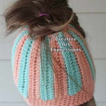 Messy Bun Hats, Pony Tail Hats, Beanies, Running Tocques, Crocheted