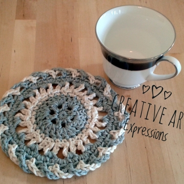 Crocheted Coasters, Round, Elegant, Large, Ready to Ship, Gray, Ivory, Set of 4, Cotton Coasters, Home Decor, Kitchen Decor, 4 Coasters, Fine China Coasters, Fancy Coasters, Handmade