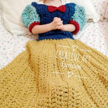 Fair Princess Dress Blanket, Made to Order, Thick & Soft, Crocheted, Golden Yellow, Blue, Red, Adult teen, Child, Toddler, Wearable Blanket, Women Gifts, Girl Gifts, Unique Gifts,