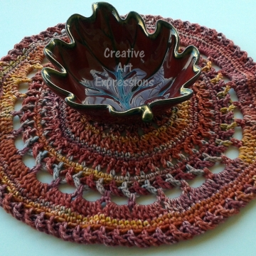 Thanksgiving, Place Mats, Crocheted, Round, Elegant, Large, Made to Order, Cotton Place Mats, Home Decor, Kitchen Decor,