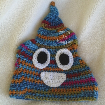 Bright Unicorn Poop Emoji Hat, Large Adult, Ready to Ship, Crocheted Hat, Poo Hat, Guy Gifts, hipster hat, Crocheted Hat, Handmade